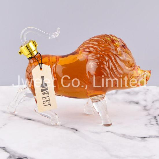 Custom Wild Boar Shape Glass Wine Bottle for Sale