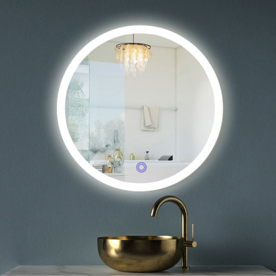 Factory Round Wall Mounted Living Room IP44 LED Bath Mirror with Smart Touch Switch
