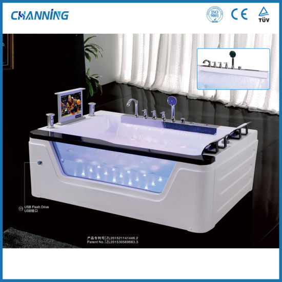 Channing Luxury 2 Person Acrylic Hot Tub Jacuzzi Bath Freestanding Whirlpool Massage Bathtub with Big Waterfall (QT-229)