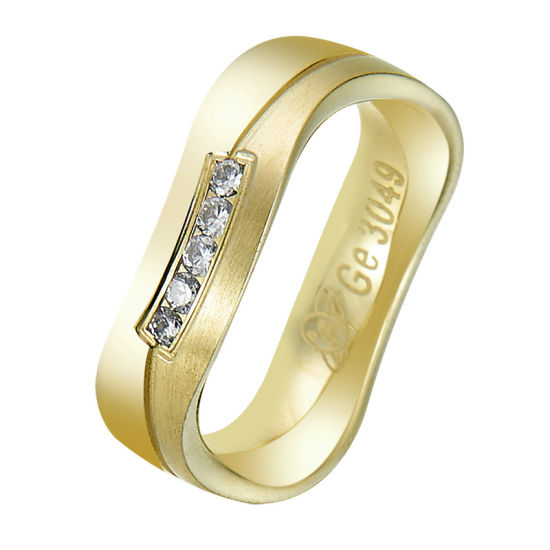 Simple Design Curve Shape Round Finger Wedding Ring for Couples