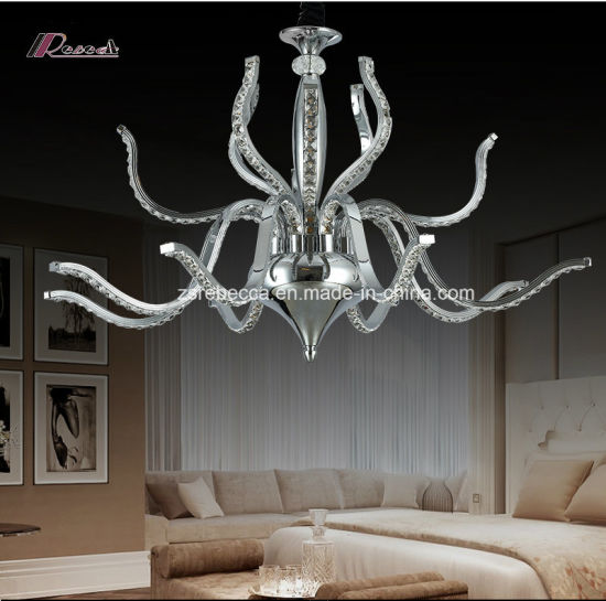 Modern Crystal Chandelier Light with Stainless Steel Ceiling Lamp