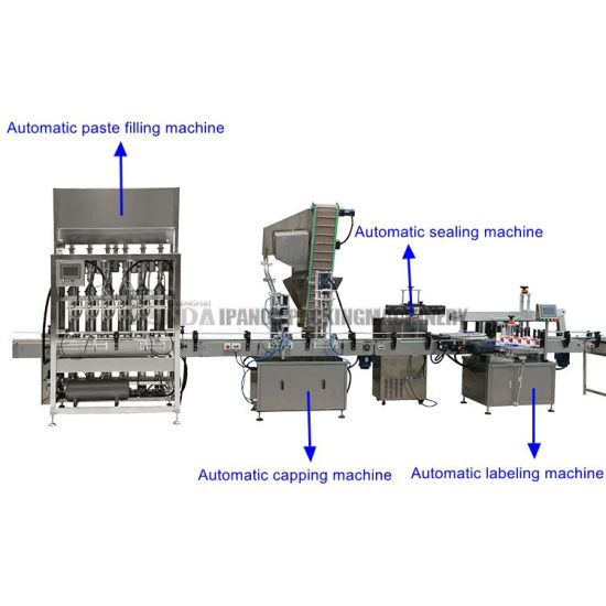 Full Automatic Packaging Machine Bottle Liquid Paste Cream Sauce Jam Fill Capping Production Line Linear Type Automatic 4 Nozzle Filling Machine