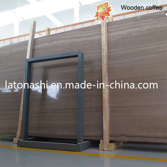 Chinese Natural Coffee Wooden Vein Marble for Slab, Countertop, Worktop pictures & photos