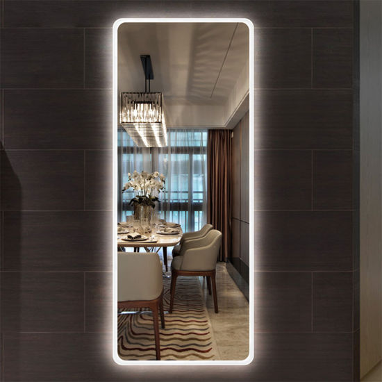 Customized Size Frameless Wall Mount Floor Mirror with LED Lights