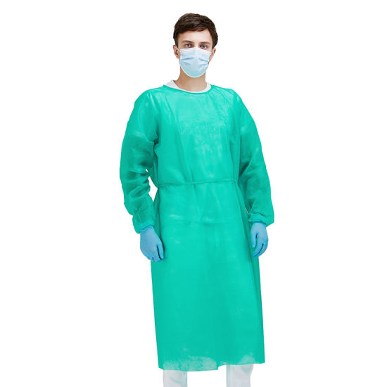 Non Woven PP Sanitary Isolation Gown Protective Disposable Clothing Visitor Patient Exam Gown