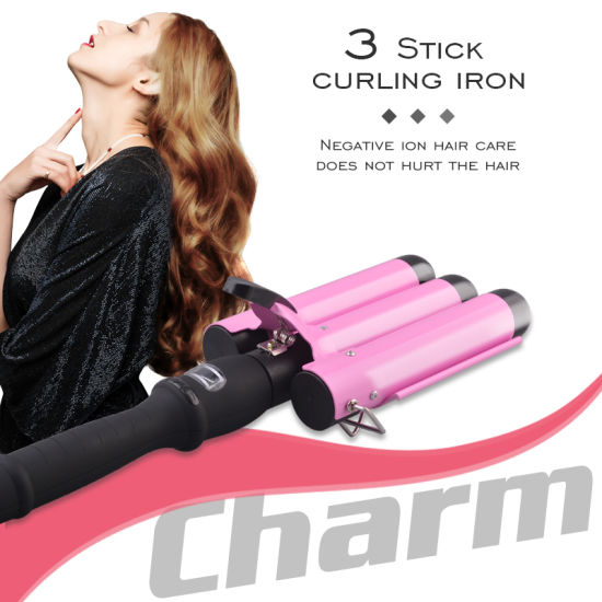 2020 Styling Pink Ceramic Professional Rotating 3 Barrel Portable Rollers Automatic Hair Curler