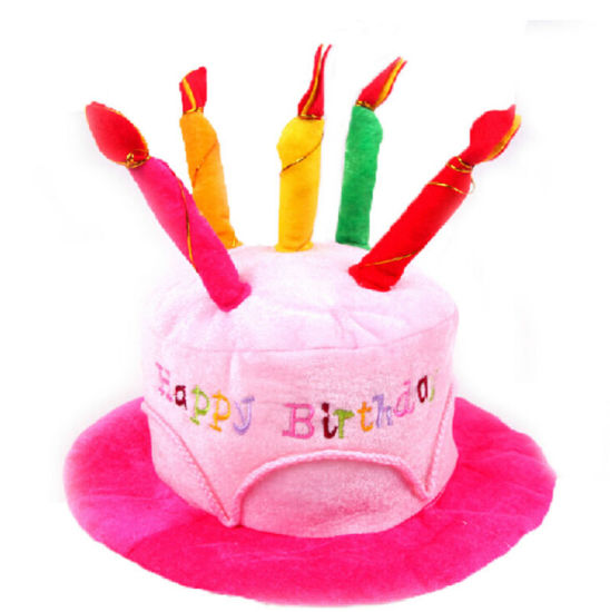 Happy Birthday Plush Cake Hats With Candles Pink Or Blue Novelty Party Hat