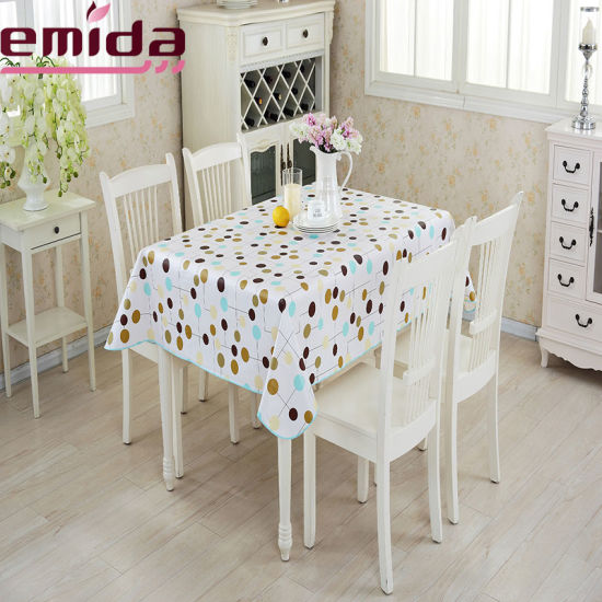 Custom Order Quality Material Printing Pink Checkered Printing Restaurant Casual PVC Tablecloth pictures & photos