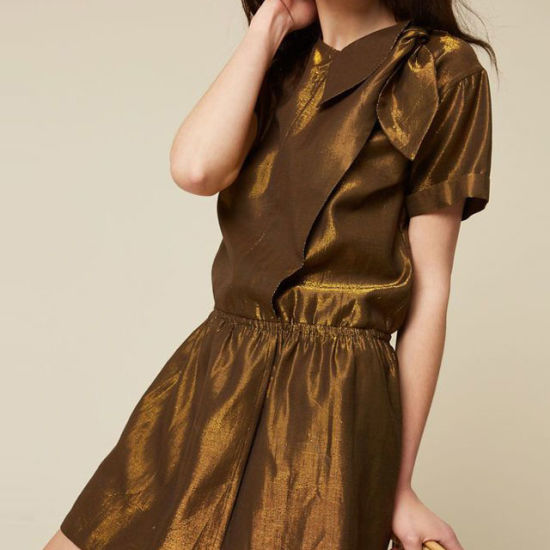 Special Gold Colour Vintage Dress Women Ladies Casual Fashion Office Dress