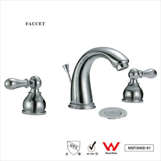 Chrome Finish Widespread 3 Holes Double Knobs Bath Sink Faucet