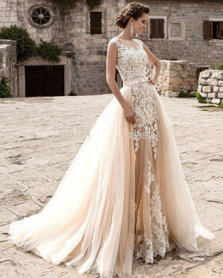 Vintage Lace Cap Sleeves Detachable Trailing Mermaid Wedding Dresses China Wedding Dress And Mermaid Wedding Gown Price Made In China Com