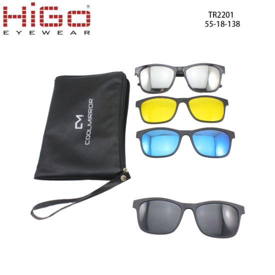 6d30568544 Fashionable Tr90 Material Frame 4 Clips on Magnetic Polarized Sunglasses