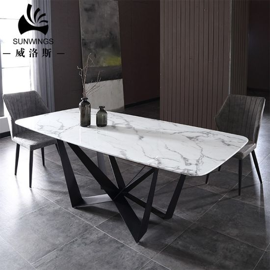 Nordic Marble Dining Table With Wrought Iron Matel Steel Leg
