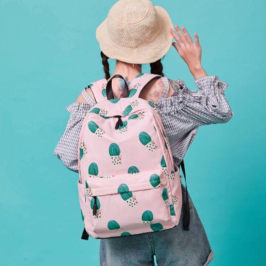 China Trendy Cartoon Cactus Polyester Shoulder Bag Boys Girls Kids Bookbag Children School Bag Backpack