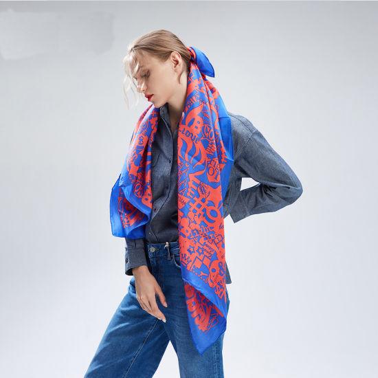 100% Luxury Printed Silk Twill Scarf Hand Rolling Scarf for Lady