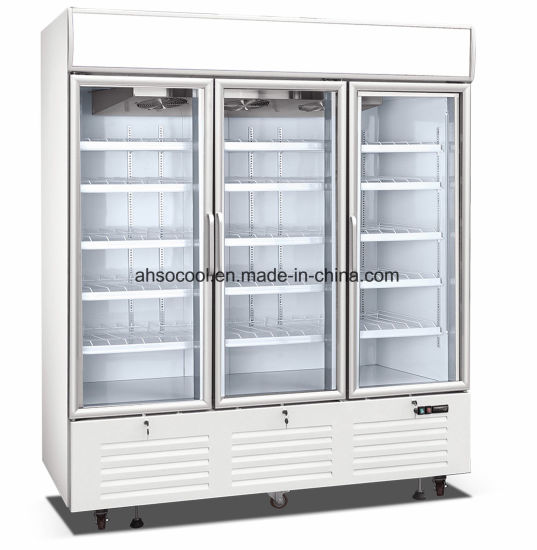 China Glass Door Upright Freezer Display Showcase For Commercial