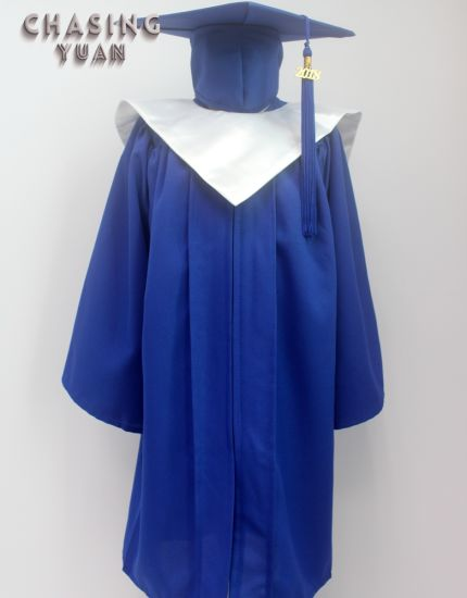 8c8fefd7ee3 China Kindergarten Royal Blue Graduation Gown Cap and V-Stole ...