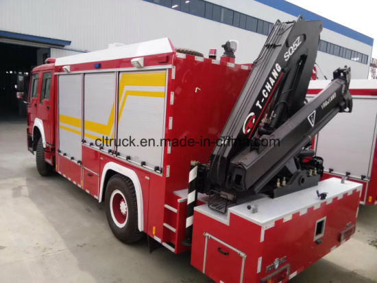 5 Tons of Rear Vehicle-Mounted Arm Folding Crane System Emergency Lighting Tower Fire Truck pictures & photos