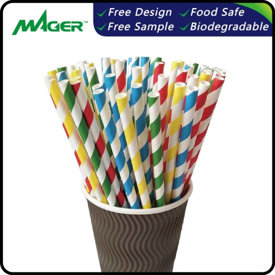 Hot Sale Colorful Biodegradable and Recycled Drinking Paper Straws