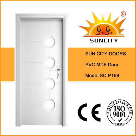 Cheap Modern PVC Bathroom Coated Wooden Door