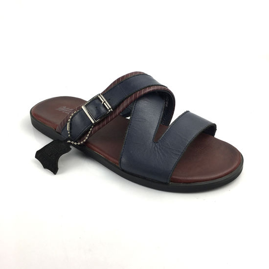 Mens Leather Black Ethnic Slippers