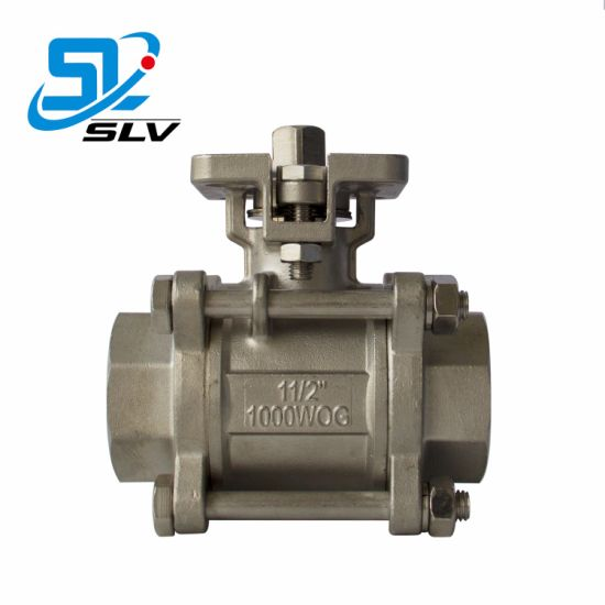 Dn15-Dn100 3 Piece Stainless Steel Thread Ball Valve with High Platform pictures & photos