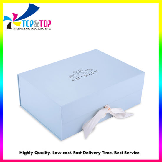 China Business Square Blue Gift Box Custom Folding Shoes