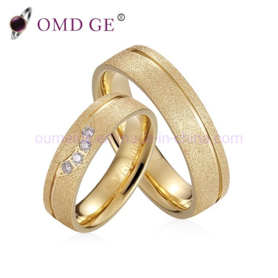 Wholesale Jewelries Custom Anniversary Rings Wedding Rings Gold Plated CZ Inlay