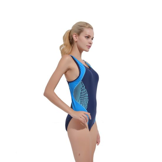Blue Panel Lycra Bikini Sportswear Upf50+ Short Swimming Suits for Lady Diving Suit pictures & photos