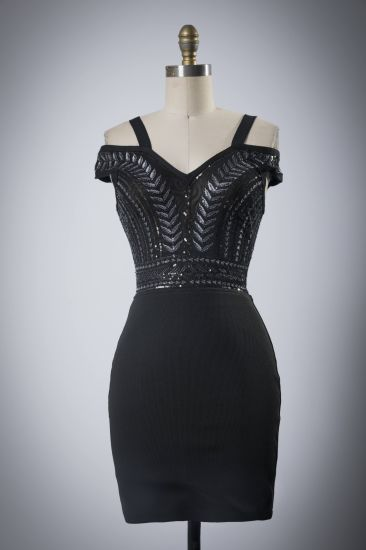 Lady Sexy Sequins Black Evening Party Dress