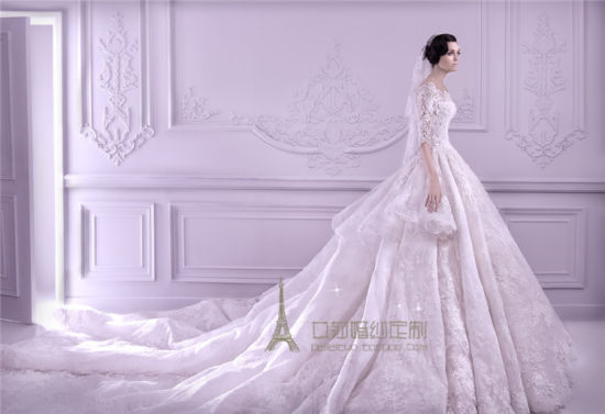 China Lace Bridal Gown 1 2 Sleeves Luxury Cathedral Train Princess
