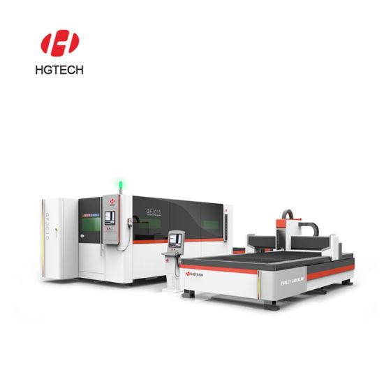 Hgtech Integrated Cast Iron Bed 1000W Fiber Laser Cutter for Metal Sheet