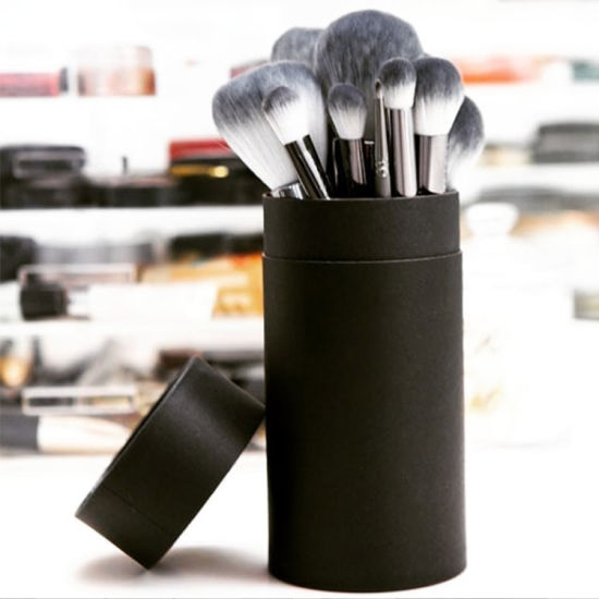 Firstsail Custom Black Cylinder Cosmetic Makeup Brush Kraft Paper Tube Packaging
