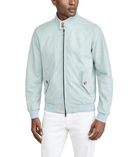 Wholesale Custom New Design Light Blue Jacket with Plaid Interior and Zipped Closure Mens Autumn Jackets