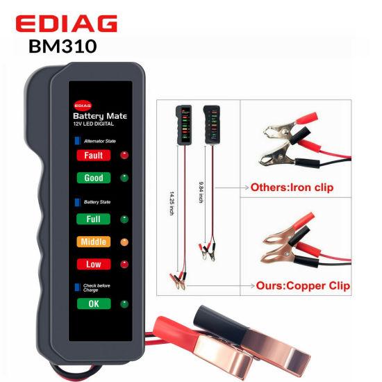Ediag Car Battery Tester Bm310 12V Digital Test 6 LED Display Analyzer Alternator State Check Pure Copper Wire Clip