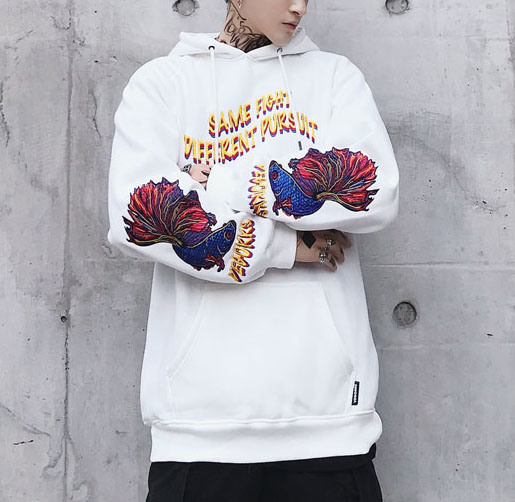 Wholesale Appliqued Embroidery Mens Pullover Hoodie Stock