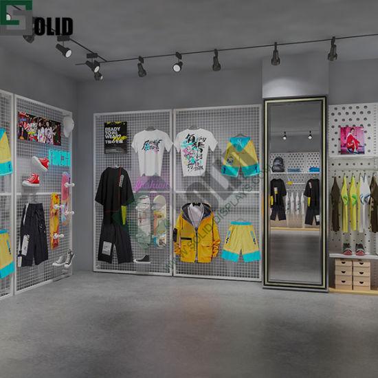 Metal Wall Floor Grid Wall Display Stand Gridwall Rack/Stand/Display Metal Wall Display Stand for Clothing