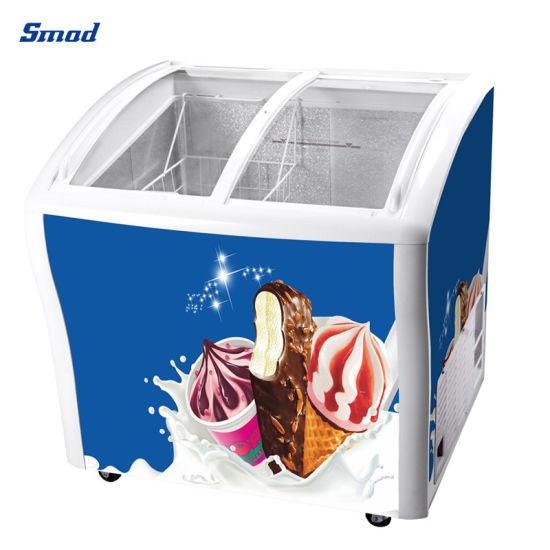 218L Curved Sliding Glass Door Horizontal Ice Cream Showcase Freezer
