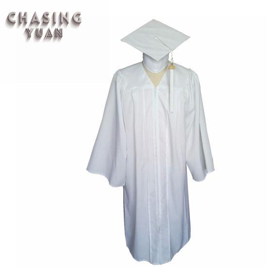 High School Matte White Graduation Gown with Cap Tassel