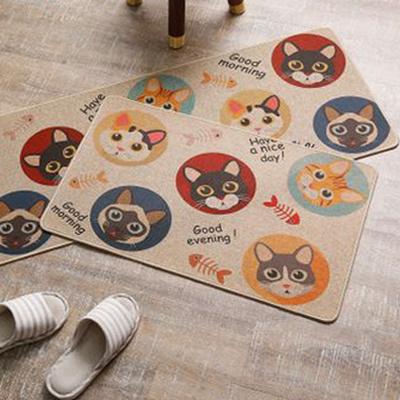 Custom Printing Logo Linen Natural Rubber Non Slip Jute Welcome Door Kitchen Floor Mat Set Carpet