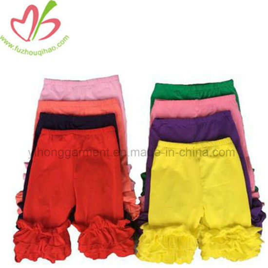 Hotsale Girls Ruffle Pants Casual Trouser Colorful Kids Short Pants