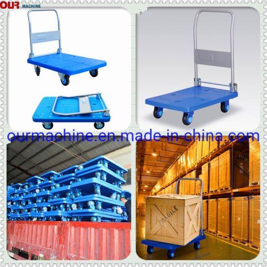 4 Wheels Folding Plastic Platform Cart Hand Truck /Warehouse Trolley