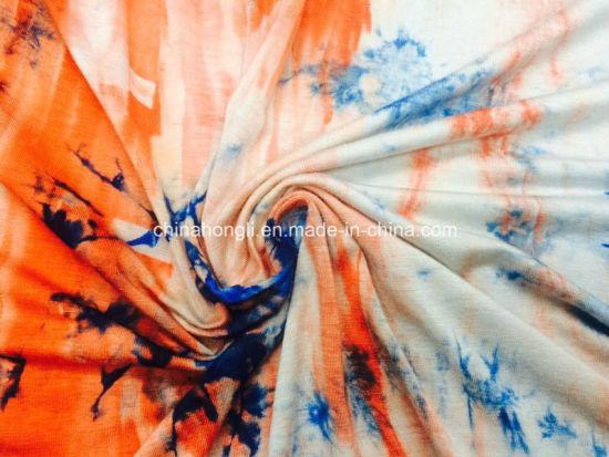 Single Jersey R/Sp 95/5, 175GSM, Tie Dye Knit Fabric for Dress Lady Garment