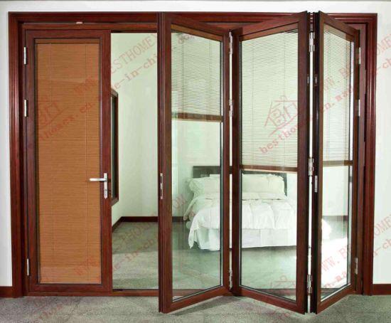 China Deluxe Woodgrain Aluminium/Aluminum Bi-Folding Door (BHA-DBF10 ...