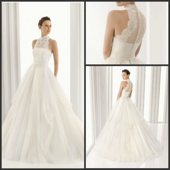 Lace Bridal Ball Gown Spanish Collar Wedding Dress H201671 pictures & photos