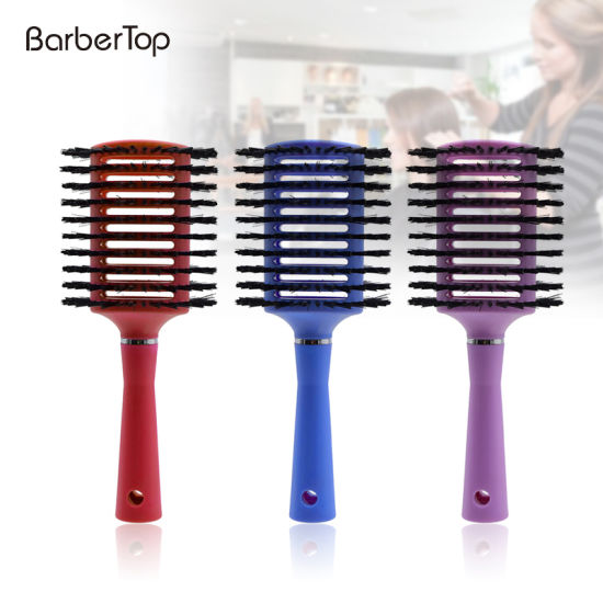 1PC Curly Hair Comb Hair Care Straight Grain Plastic Handle Professional Styling Comb Anti-Static Round Massage Hair Care Brush