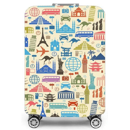 Polyester Spandex Custom Suitcase Protector Durable Printing Water-Resistant Luggage Cover