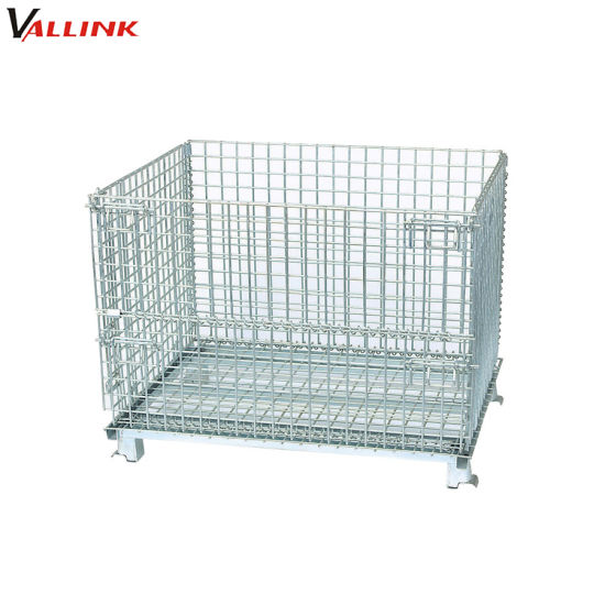 Industrial Steel Rigid Wire Cages Foldable Wire Mesh Container