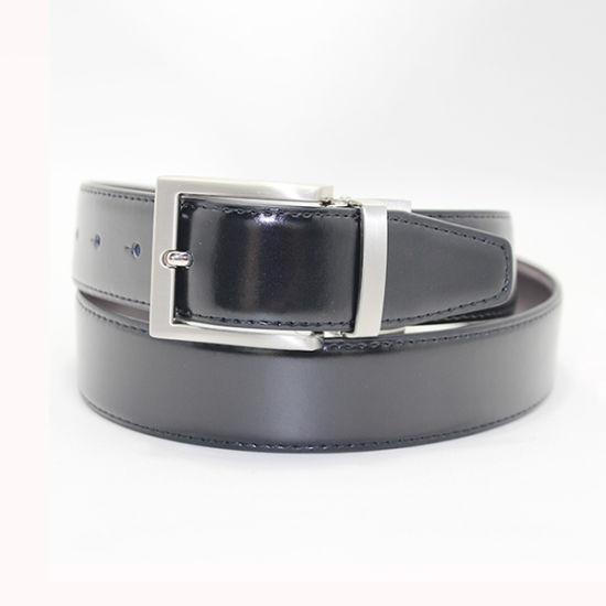 Men's Basic Twist Buckle Reversible Split Leather, Fashion PU Formal Dress Casual Belt with Pin Buckle
