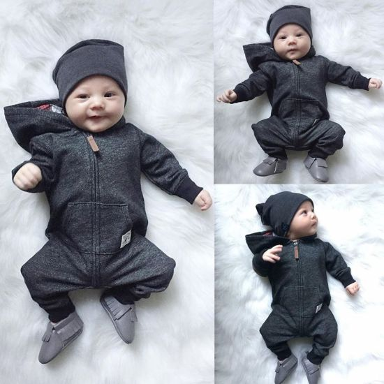 Customized Hot Sale 100% Cotton with Hooded Zipper Newborn Jumpsuit Baby Rompers